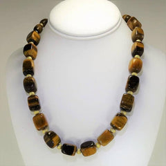 Gemjunky Lustrous Tiger's Eye Cube Necklace