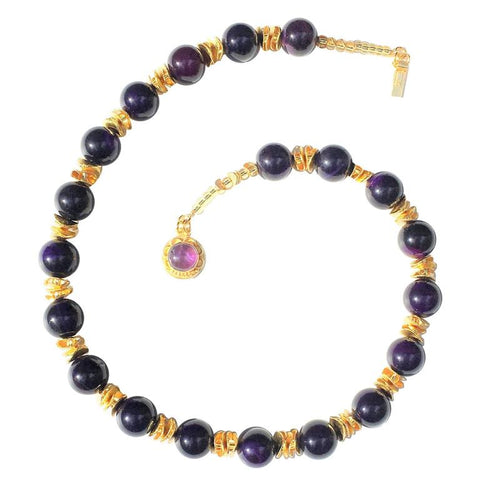 Gemjunky Necklace of Polished Amethyst Spheres Accented with Gold  Flutters  February Birthstone