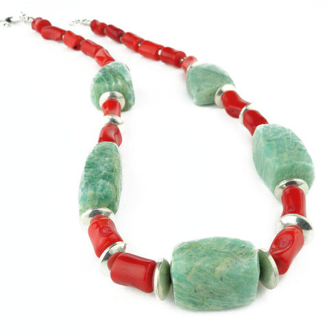 Amazonite and Orange Bamboo Coral Necklace