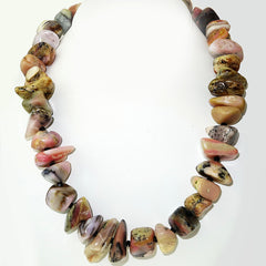 Gemjunky Statement Necklace of Highly Polished Pink Peruvian Opal Nuggets and Black Spinel
