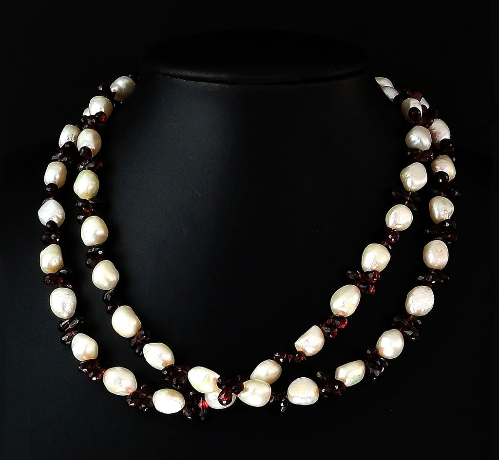 Gemjunky Double-Strand Freshwater Pearl and Rhodolite Garnet Necklace