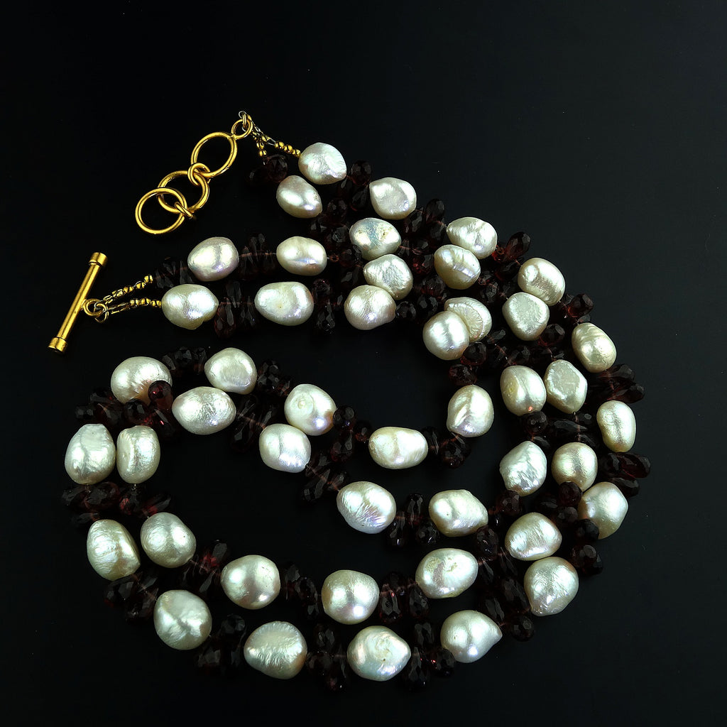 Double-Strand Freshwater Pearl and Rhodolite Garnet Necklace