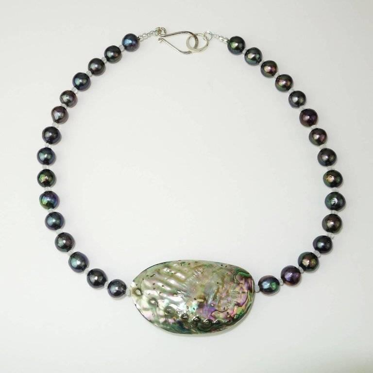 Blue/Green/ Purple Pearls and Paua Shell Necklace