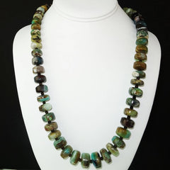 Gemjunky Green and Brown Graduated Peruvian Opal Necklace with Sterling Silver