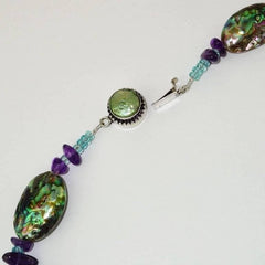 Paua Shell Necklace Accented with Amethyst and Apatite