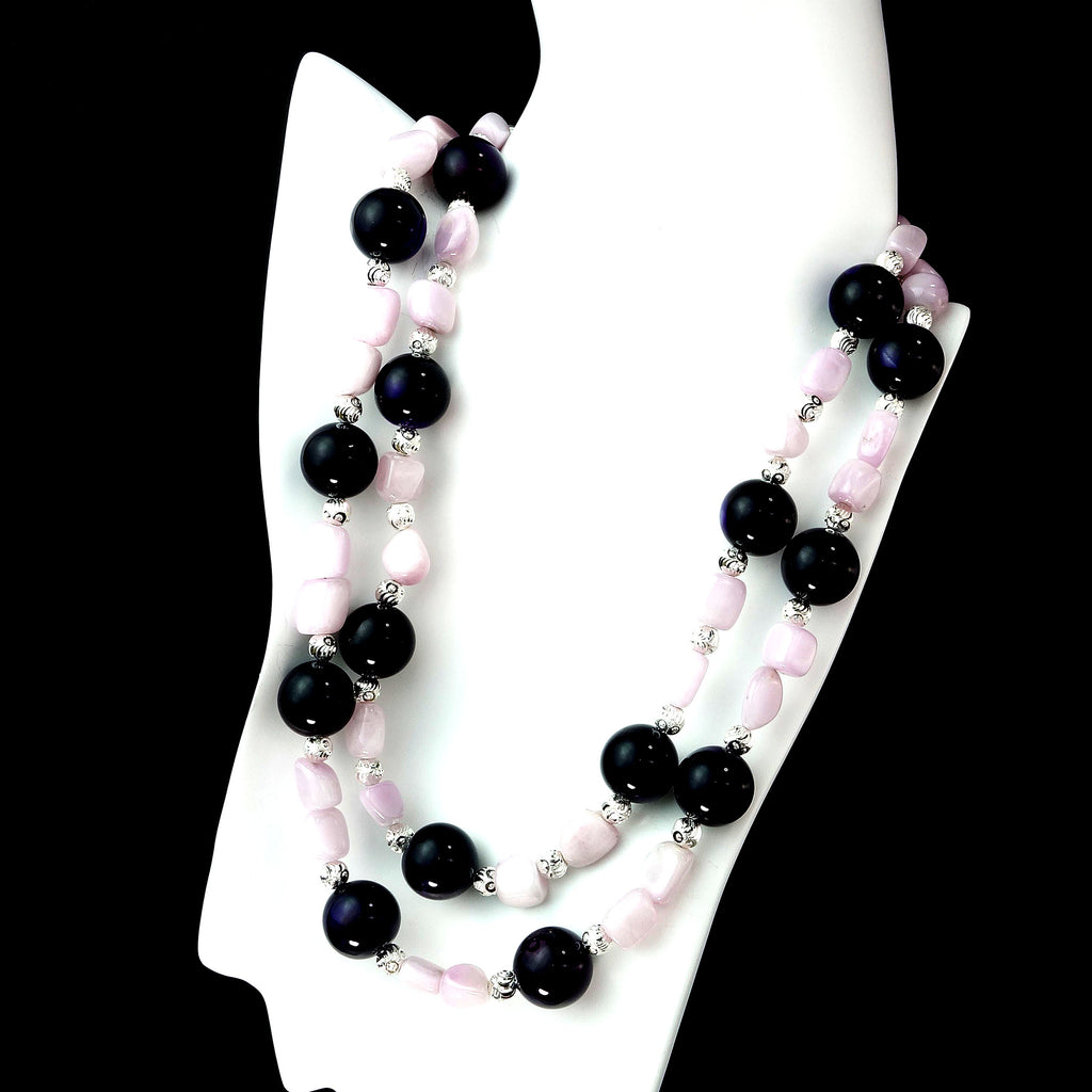Gemjunky Elegant Amethyst and Kunzite Double strand necklace