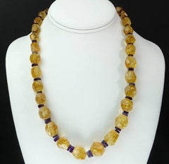 Graduated, Roughly Faceted  Citrine with Amethyst  Necklace  February Birthstone