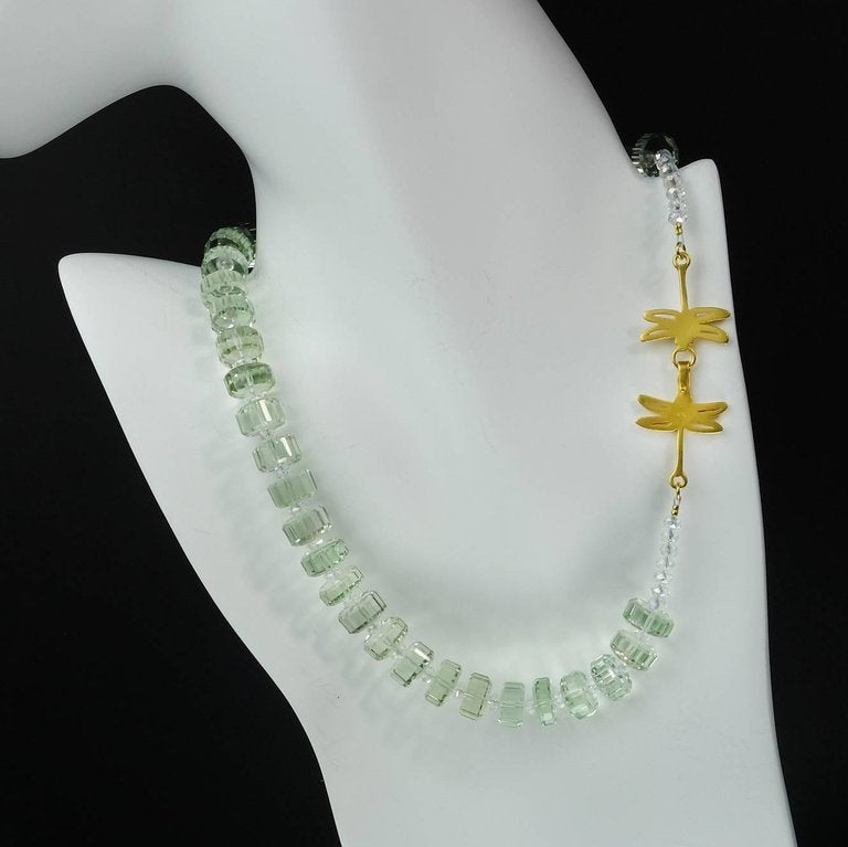 Gemjunky Fancy Cut Prasiolite Necklace with Vermeil Dragonfly Clasp