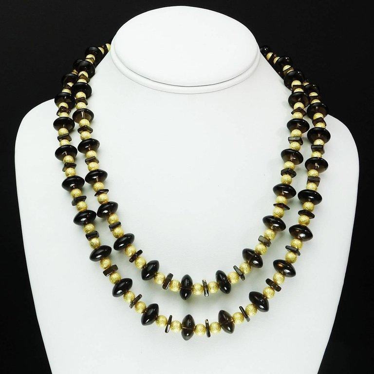 Double Strand Necklace of Smoky Quartz