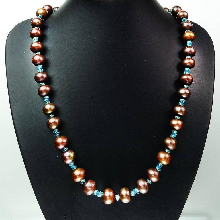 Iridescent Brown Pearls accented with Sparkling Apatite Necklace
