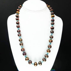Gemjunky  Iridescent Brown Pearls accented with Sparkling Apatite Necklace