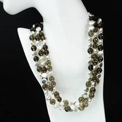 Triple Strand of Sparkling Faceted Smoky Quartz and Silver Necklace
