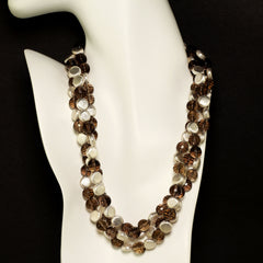 Gemjunky  Triple Strand of Sparkling Faceted Smoky Quartz and Silver Necklace