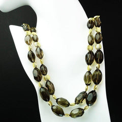 Double Strand of Transparent Smoky Quartz Nugget Necklace