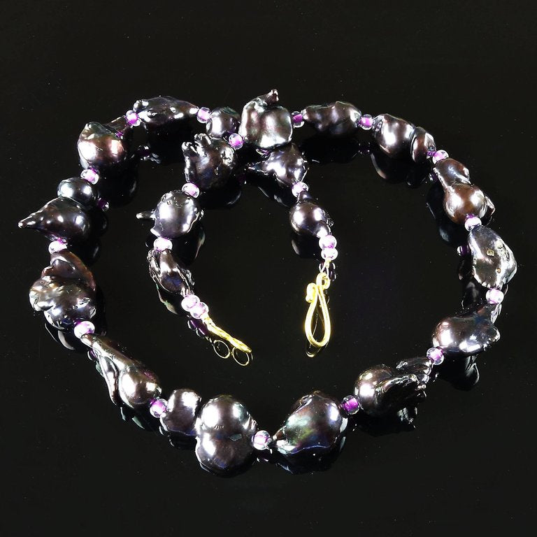 Graduated, Iridescent, Deep Red Baroque Pearl Necklace