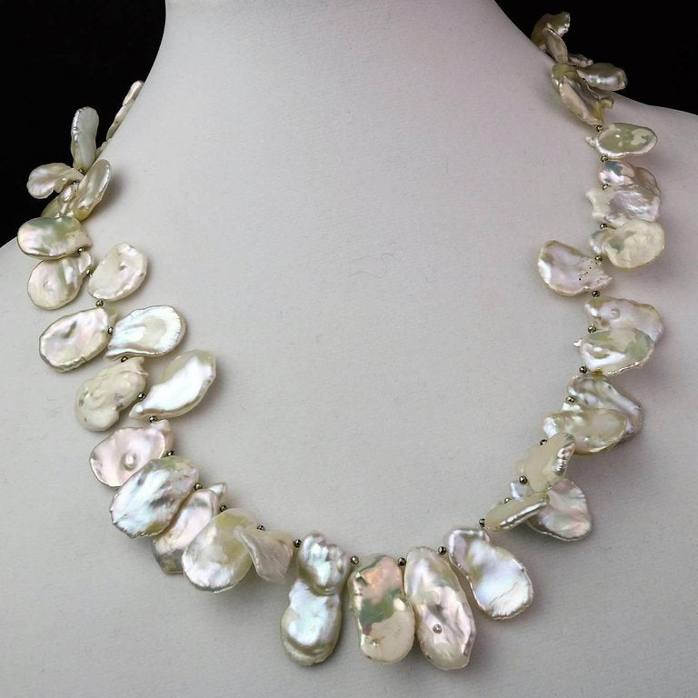 Matinee Length, White, Iridescent Keshi Pearl Necklace