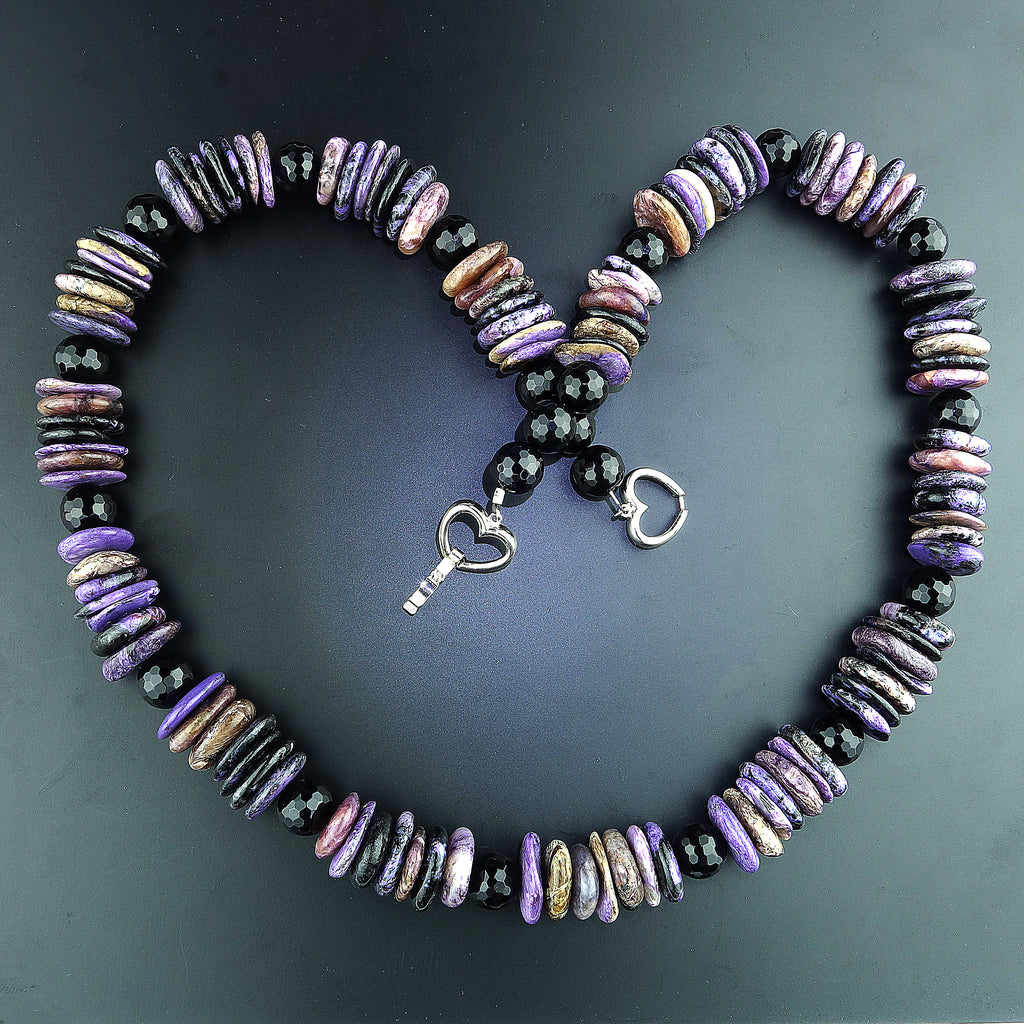 Chunky Purple Charoite Slice Necklace