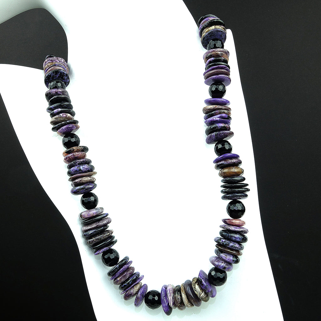 Gemjunky Handmade, Purple Charoite Slice Necklace