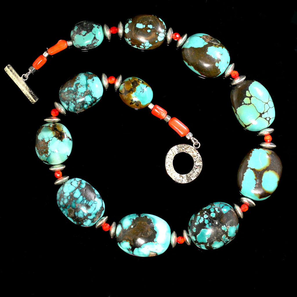 Gemjunky Graduated Hubei Turquoise Nugget Necklace with orange and silver accents