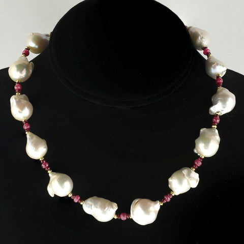 Gemjunky Ruby and White Pearl Choker Necklace