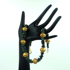 Gemjunky  Emerald and Gold Nugget Necklace