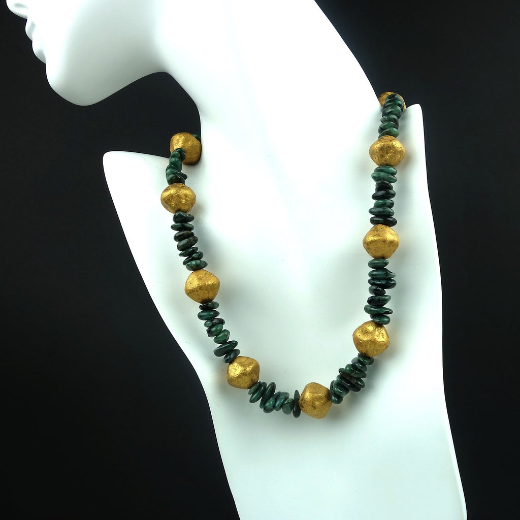 Emerald and Gold Nugget Necklace