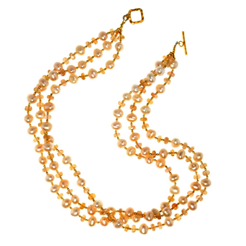 Gemjunky  Triple strand Orange Imperial Topaz and Peach Pearl Necklace