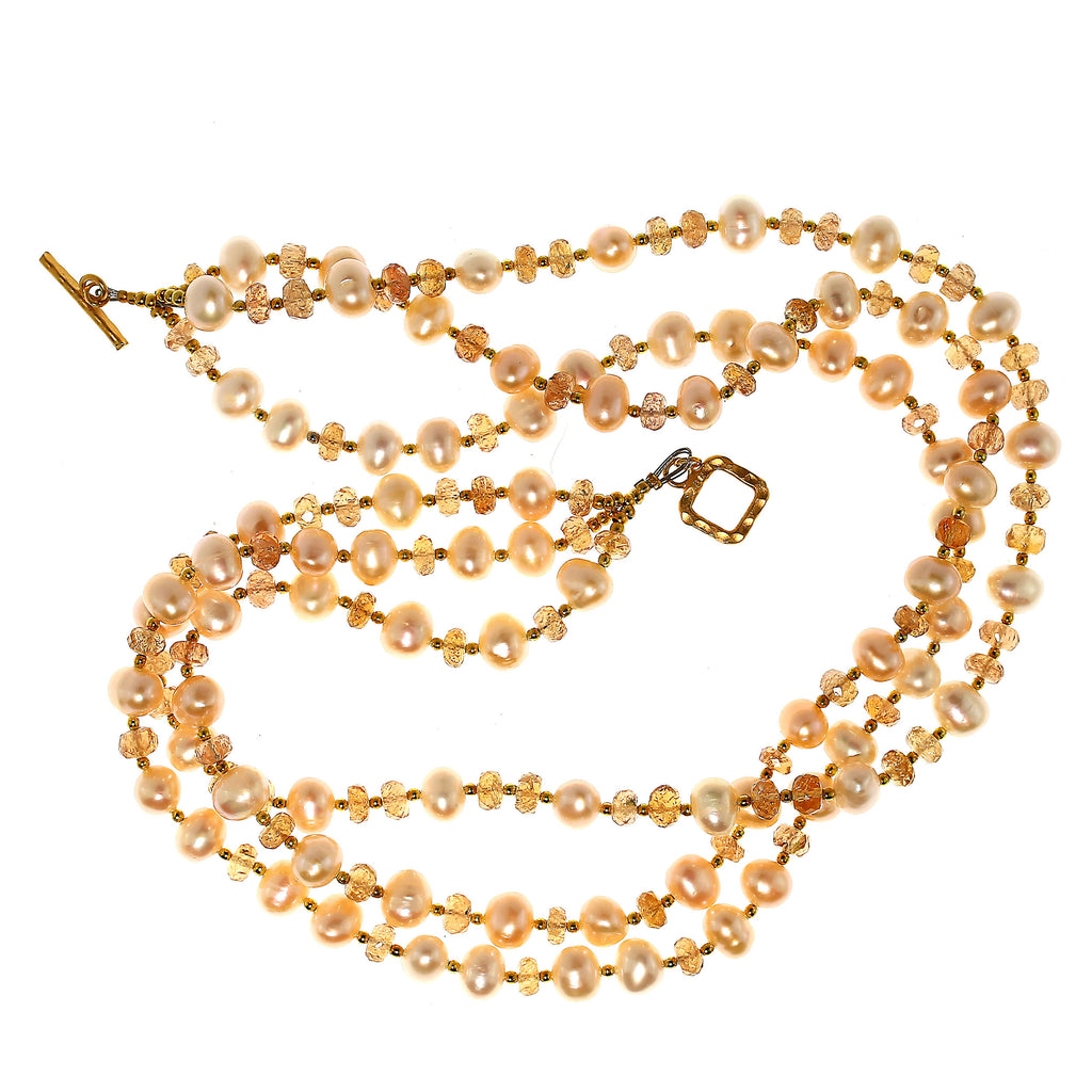 Triple strand Orange Imperial Topaz and Peach Pearl Necklace