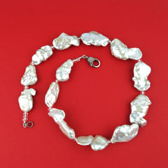 Baroque Pearls with Silvery Iridescence Necklace