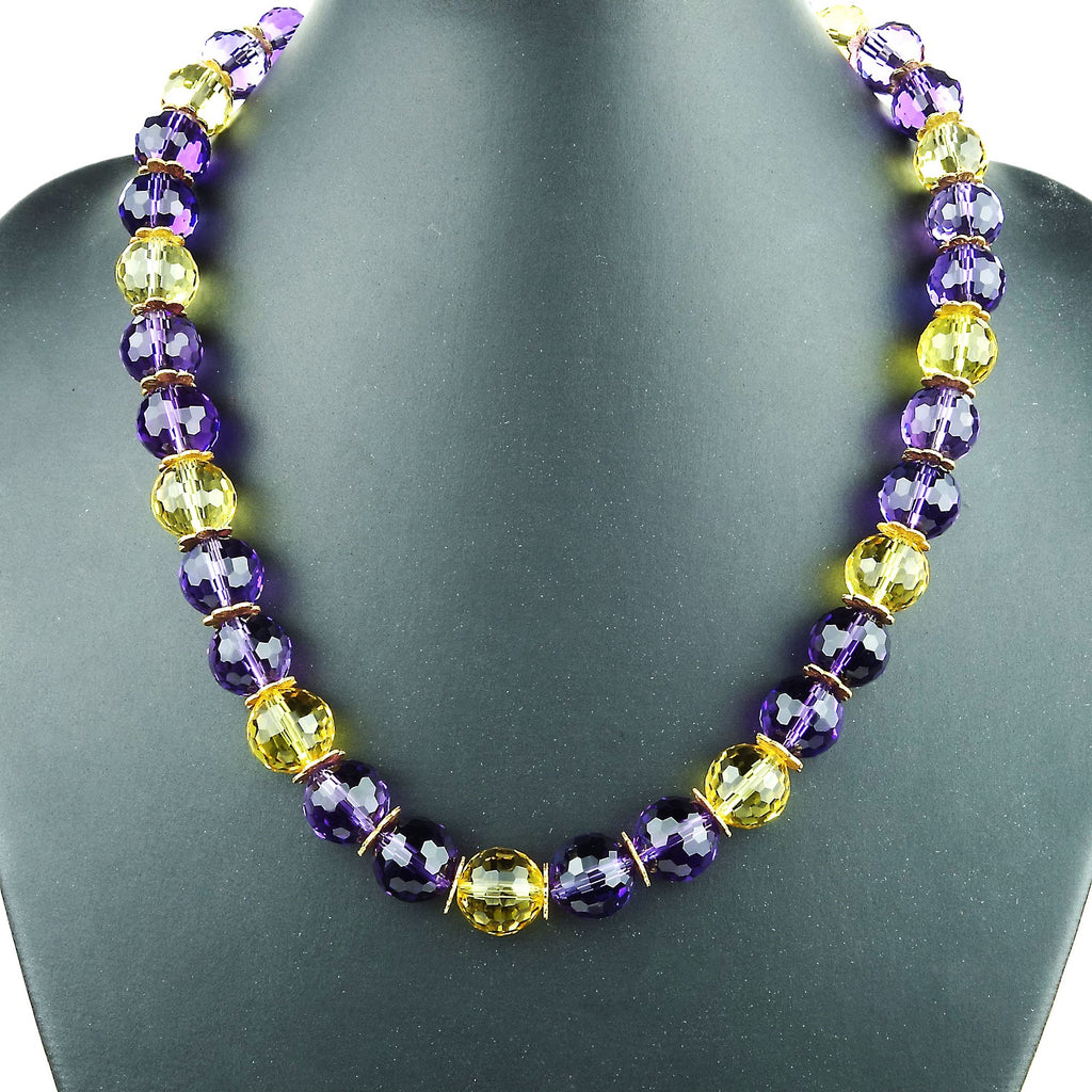 Amethyst and Citrine Necklace  February Birthstone