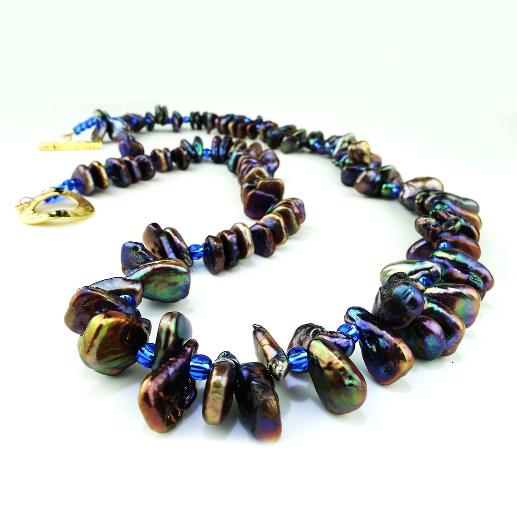 Gemjunky  Iridescent, Triangular Bronze-green Pearl Necklace