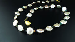 Gemjunky  Silvery Coin Pearls and Black Opal Necklace