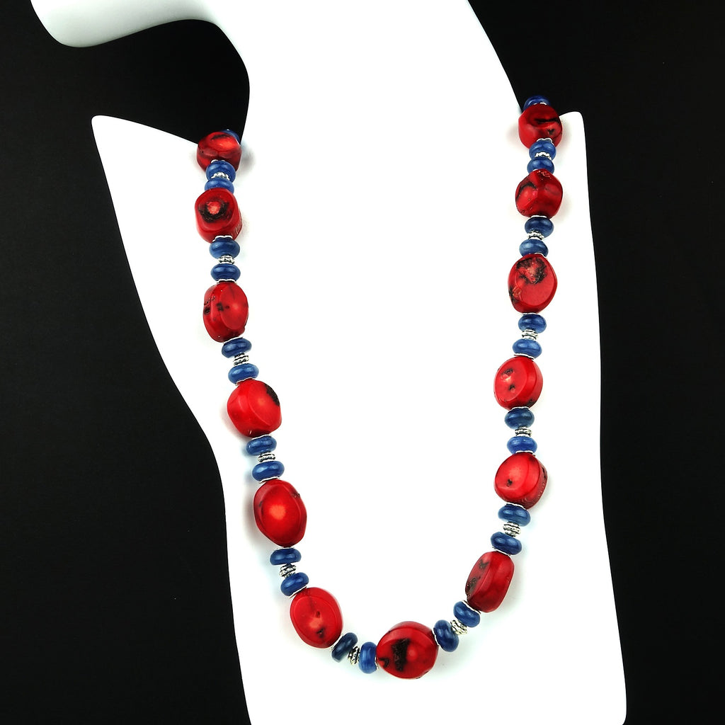 Gemjunky  Red Coral and Blue Kyanite Necklace