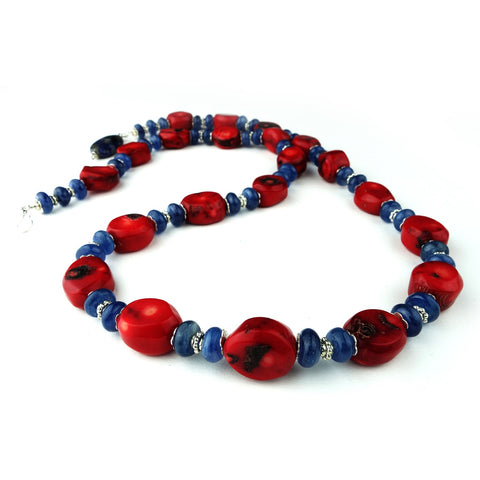 Red Coral and Blue Kyanite Necklace