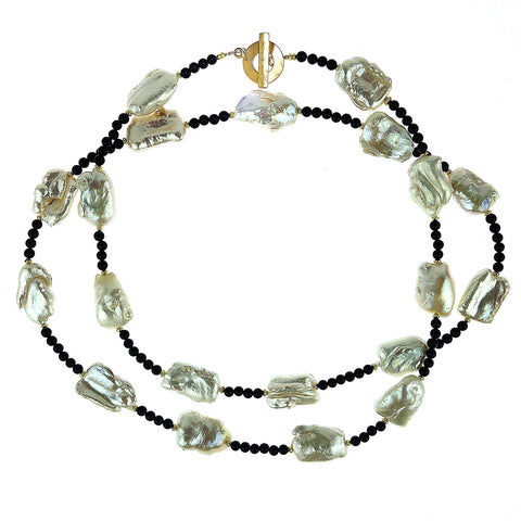 Pearl and Black Agate Long Necklace