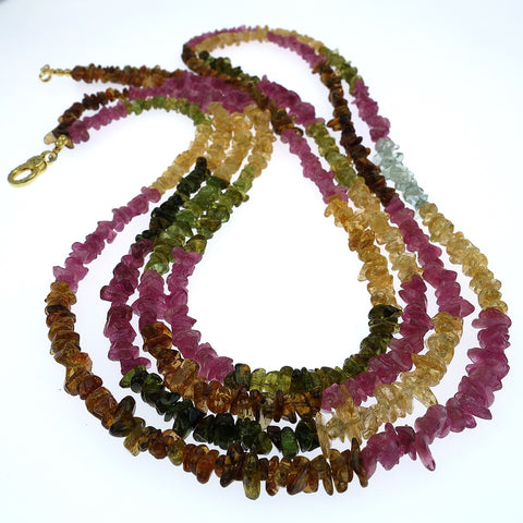 Double Strand Necklace of Multi Color Tourmaline Chips
