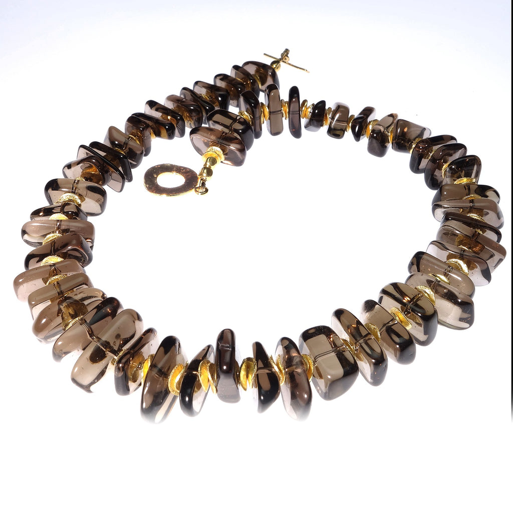 Highly Polished Smoky Quartz and Gold Choker Necklace