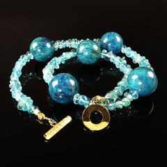 Gemjunky  Large Teal color Apatite spheres mixed with Tumbled Transparent Apatite Necklace