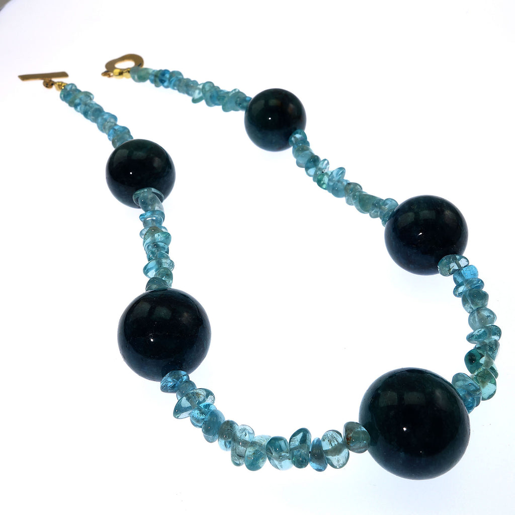 Large Teal color Apatite spheres mixed with Tumbled Transparent Apatite Necklace