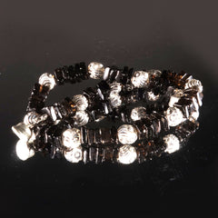 Gemjunky  Deep brown Smoky Quartz and silver bracelet