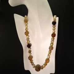 Spiderweb Jasper and Pearl Necklace