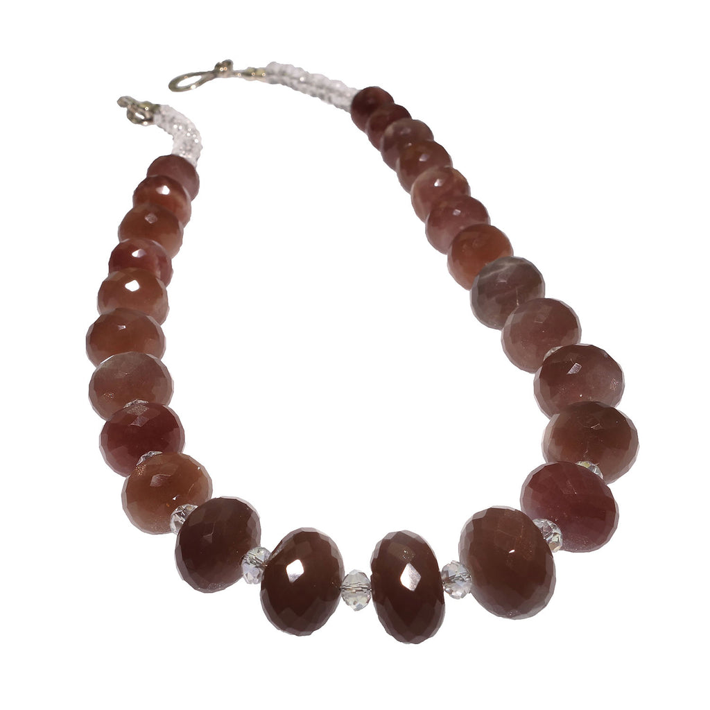 Gemjunky  Glittering Chocolate Moonstone and Crystal Necklace