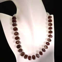 Glittering Chocolate Moonstone and Crystal Necklace