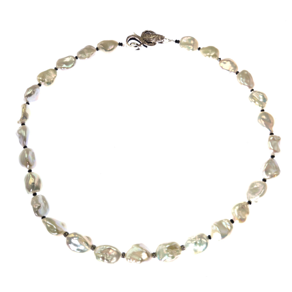 Iridescent Silver Baroque Freshwater Pearl Neckace with Diamond Accents