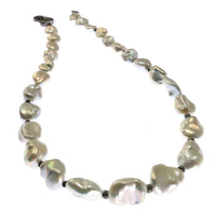 Gemjunky  Iridescent Silver Baroque Freshwater Pearl Necklace with Diamond Accents