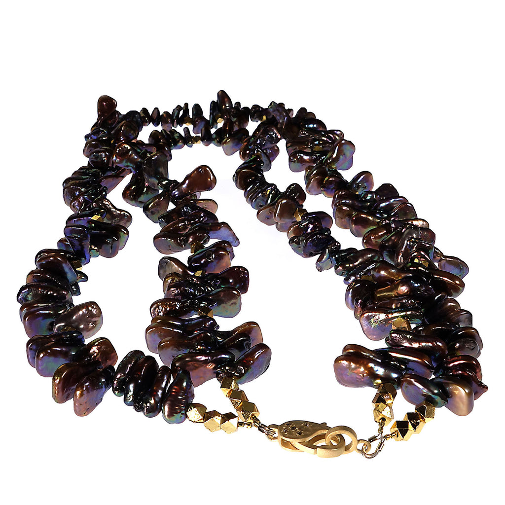 Double strand of Bronzy Iridescent Triangular Pearls with Goldy Accents