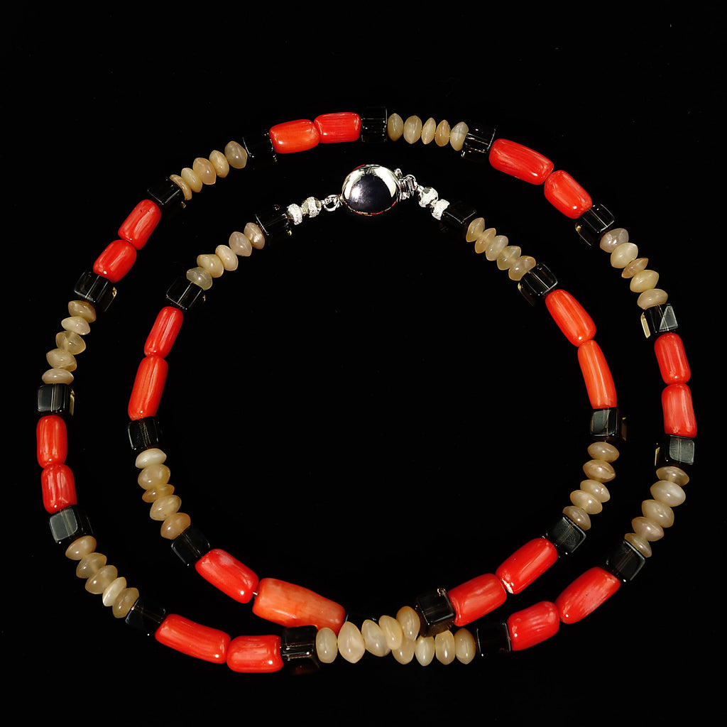 24 Inch necklace of Coral, Sunstone, and Smoky Quartz.