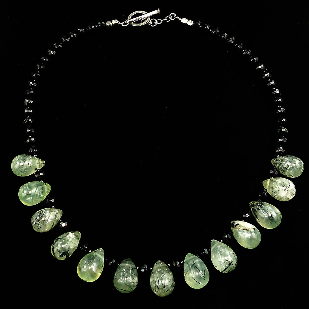 Gemjunky  17 Inch Green Prehnite and Black Onyx Necklace