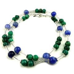 Gemjunky  Updated look 26 Inch Blue and Green Necklace