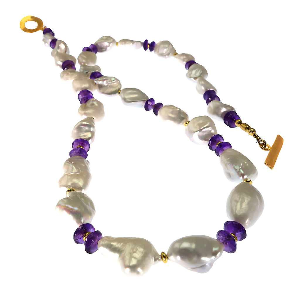 Necklace of White Baroque Pearls and Amethyst Rondels